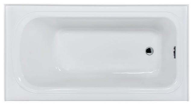 "Miseno Indulgence 60"" 3 Wall Alcove Soaking Bathtub, White."