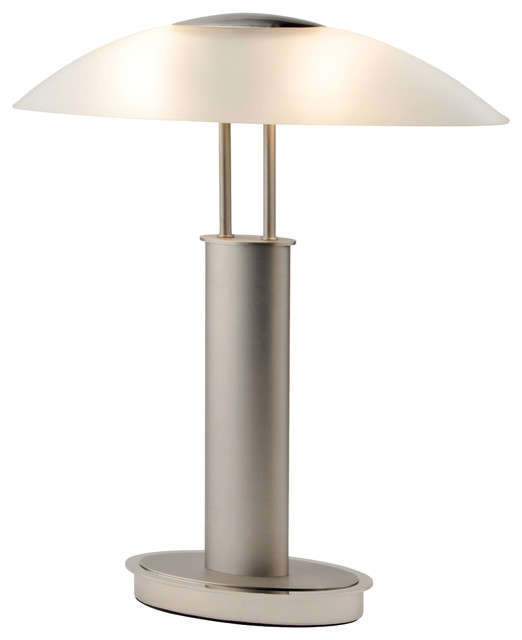 Avalon 2 Tone Table Lamp With Oval Frosted Glass Shade, 3 Way Touch