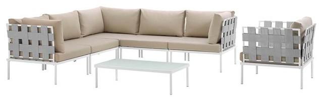 Harmony 7 Piece Outdoor Patio Aluminum Sectional Sofa Set, White Beige