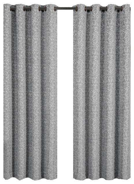 "Fiorela Jacquard Grommet Top Window Curtain Panel, Gray, 54""x63"", Single."