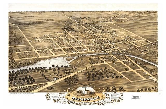 Historic Naperville Il Map 1869 Vintage Illinois Art