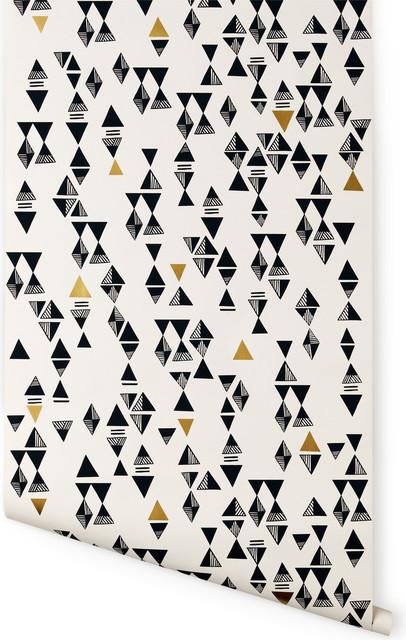 Triangles Wallpaper, White/Gold