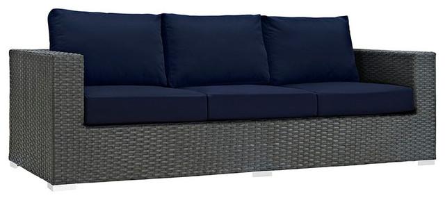 Genial Sojourn Outdoor Patio Sunbrella Sofa, Canvas Navy