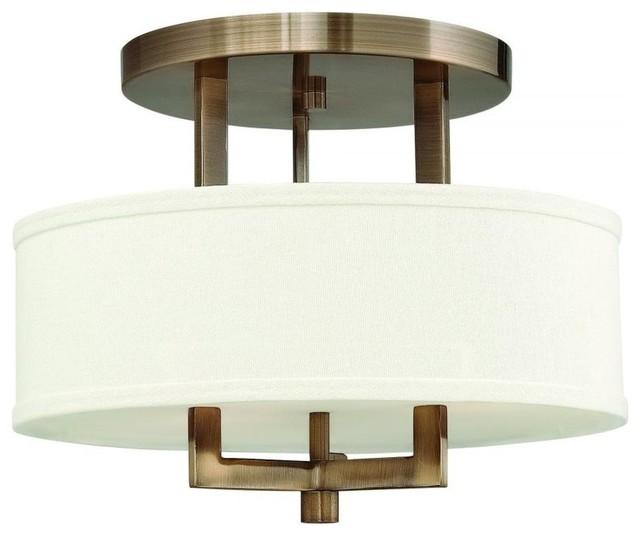 Hinkley Drum Lighting: Hinkley Hampton 3-Light Drum Shade Semi-Flush