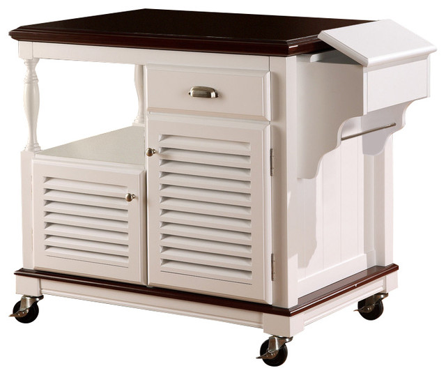 Coaster Furniture 910013 Topped Kitchen Cart, White - Beach Style