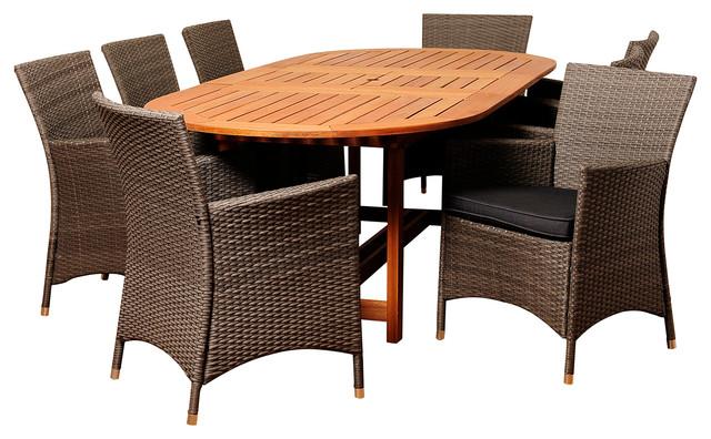 Nicholas 9-Piece Eucalyptus And Wicker Extendable Patio Dining Set.