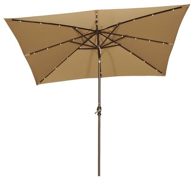 Rectangular Solar Ed Patio Umbrella With 32 Led Lights Brown