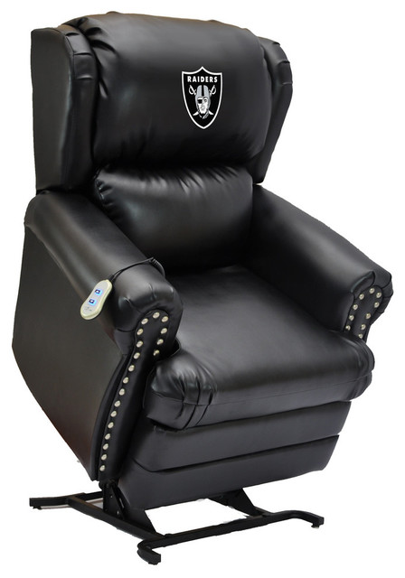 Lovely Oakland Raiders Coach Leather Lift Chair Contemporary Lift Chairs