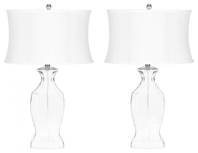 Clear Glass Table Lamp, Set Of 2, Glass.