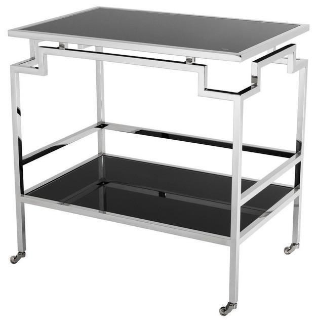 Eichholtz Tuxedo Bar Cart, Stainless Steel