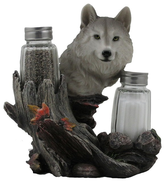 Gray Wolf Decorative Salt and Pepper Shaker Set, 3 Piece Set   Rustic   Salt And Pepper Shakers