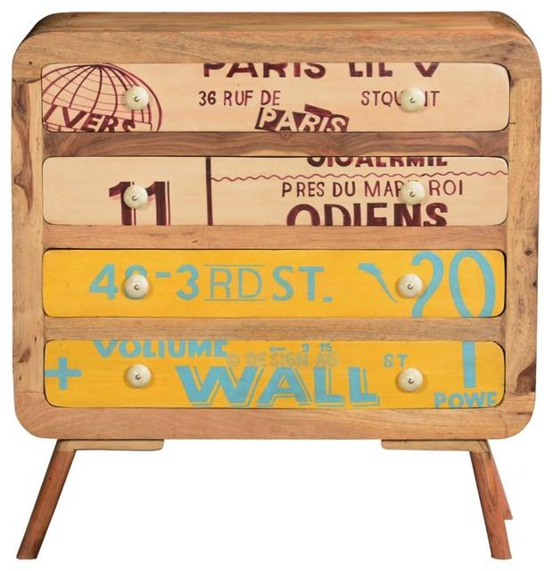 Unique Retro Stamps Solid Wood 4-Drawer Dresser.