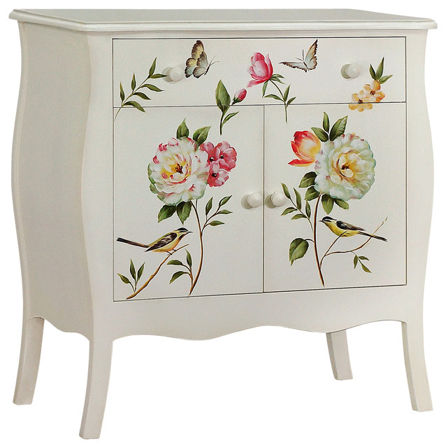 Superbe Floral Gardens Hand Painted Cabinet, Cream
