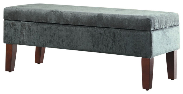 "teal velvet living room storage bed bench, 18""x44""x18"