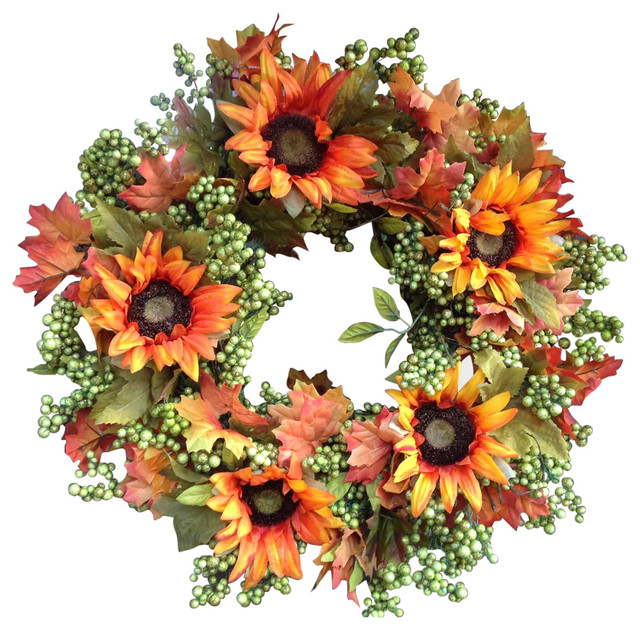 "Autumn Green Apple Sunflower Wreath -24""."