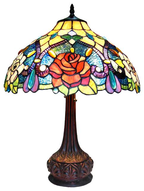 "Erin, Tiffany-Style 2 Light Roses Table Lamp, 18"" Shade."