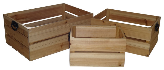 3-Piece Slatted Natural Wood Crate Set, Brown