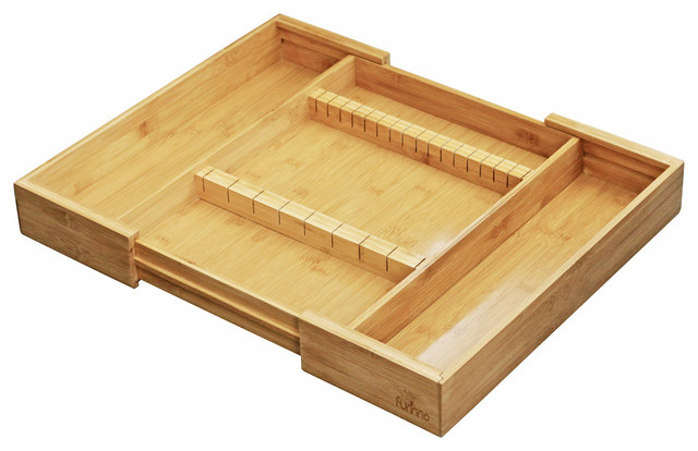 Furinno Dapur Bamboo Expandable Drawer Organizer With Cutlery Storage.