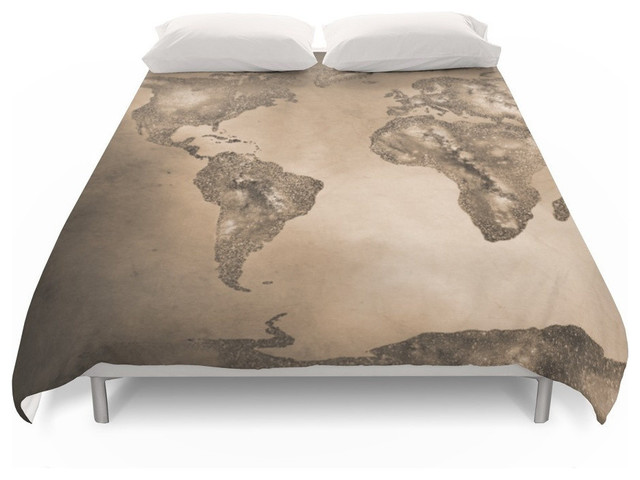 Stars World Map Sepia Duvet Cover - Contemporary - Duvet Covers And ...