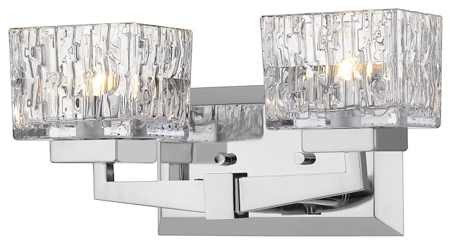2 Light Vanity, Clear, Glass Shade, Chrome Frame