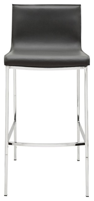 Super 17 8 W Set Of 2 Counter Stool Dark Grey Leather Chrome Finished Steel Frame Caraccident5 Cool Chair Designs And Ideas Caraccident5Info