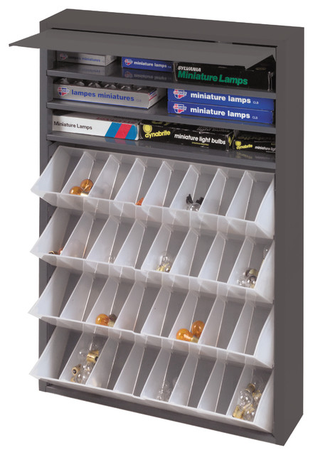 Durham Gray Cold Rolled Steel Tilt-Out Tray Dispensing Cabinet.