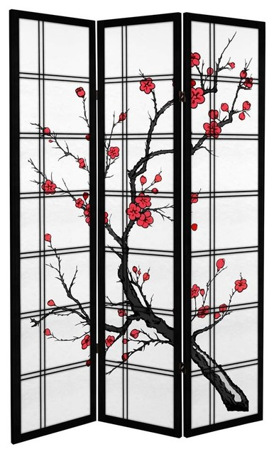 Canvas Cherry Blossom Room Divider Black Asian Screens And - Cherry blossom room divider screen