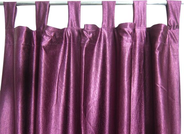 Consigned Purple Tab Top Sari Curtain / Drape / Panel.