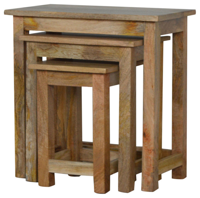 Mango Wood Nesting Table Stools 3 Piece Set Traditional Coffee Sets By Lm Furnishings