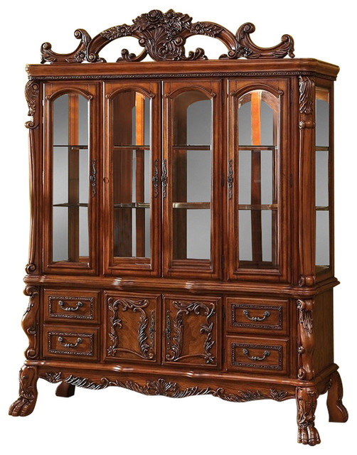 Furniture of America - Medieve Antique Oak Finish Hutch and Buffet China Cabinet - View in Your ...