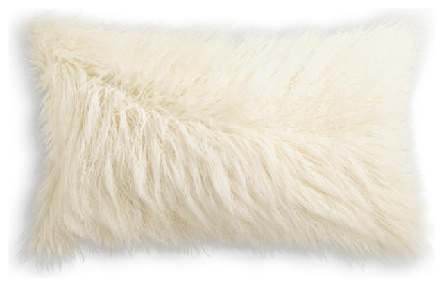 "Frisco Mongolian Sheepskin Faux Fur Pillow, Stone White, 12""x20""."