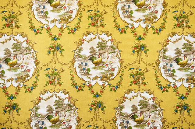 Yellow Rooster Toile Fabric French Country P Kaufmann County Fair