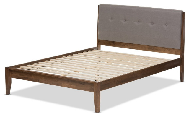 Leyton Light Gray Fabric And Medium Brown Finish Platform Bed, Queen.