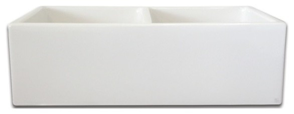 "Longstone Double-Bowl Fireclay Kitchen Sink, 32.75""."