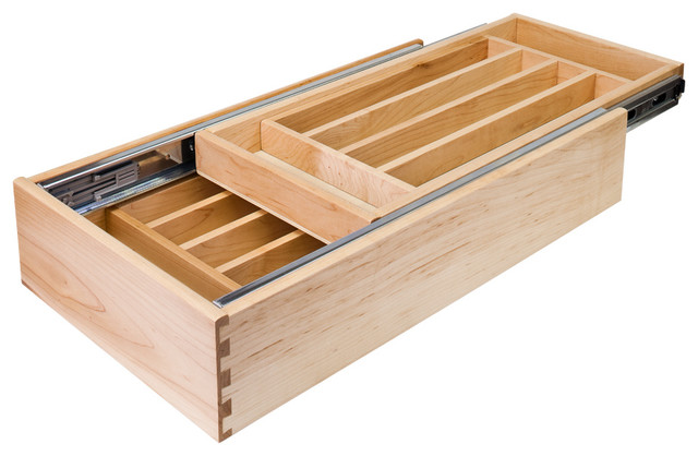 Nested Cutlery Drawer For 24 Inch Base Cabinet Contemporary Kitchen Drawer  Organizers