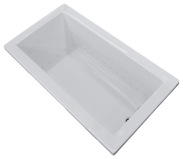"Venzi Villa 30""x60"" Rectangular Air Jetted Bathtub, Right Drain Placement."