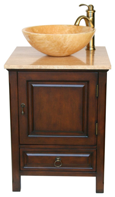 22 Small Vessel Sink Vanity With Travertine Sink Transitional