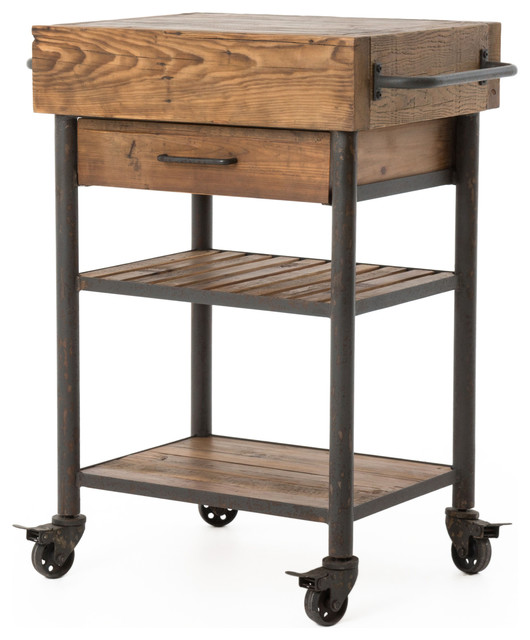 Kershaw Rustic Reclaimed Wood and Iron Kitchen Cart  : rustic kitchen islands and kitchen carts from www.houzz.com size 530 x 640 jpeg 66kB