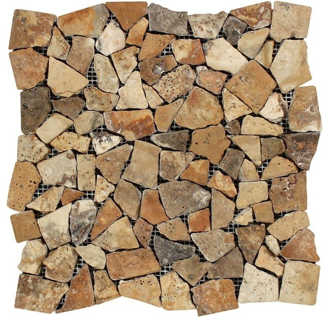 """Tumbled Noce Stone Effect Travertine Wall Tile Pack Of 15: 12""""x12"""" Scabos Tumbled Travertine Random Broken Mosaic"""