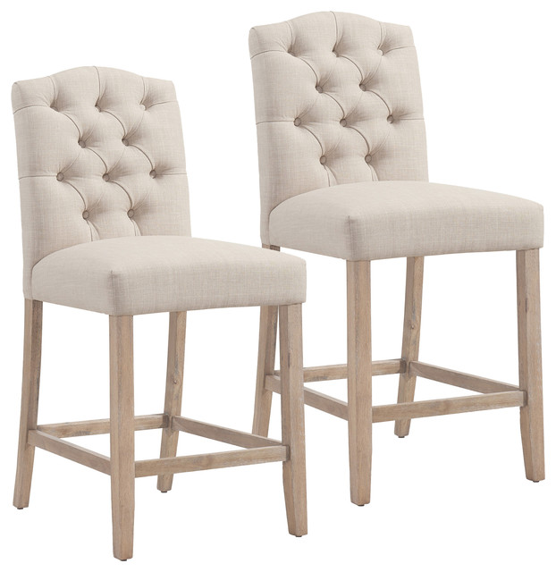 Tremendous Button Tufted Fabric Counter Stool Set Of 2 Beige Ncnpc Chair Design For Home Ncnpcorg
