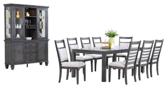 11 Pc Dining Set With China Cabinet In Weathered Gray Finish