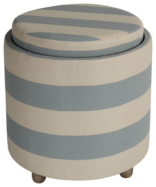 Astounding Cortesi Home Keyes Round Storage Ottoman With Tray Top Blue And White Striped F Ibusinesslaw Wood Chair Design Ideas Ibusinesslaworg