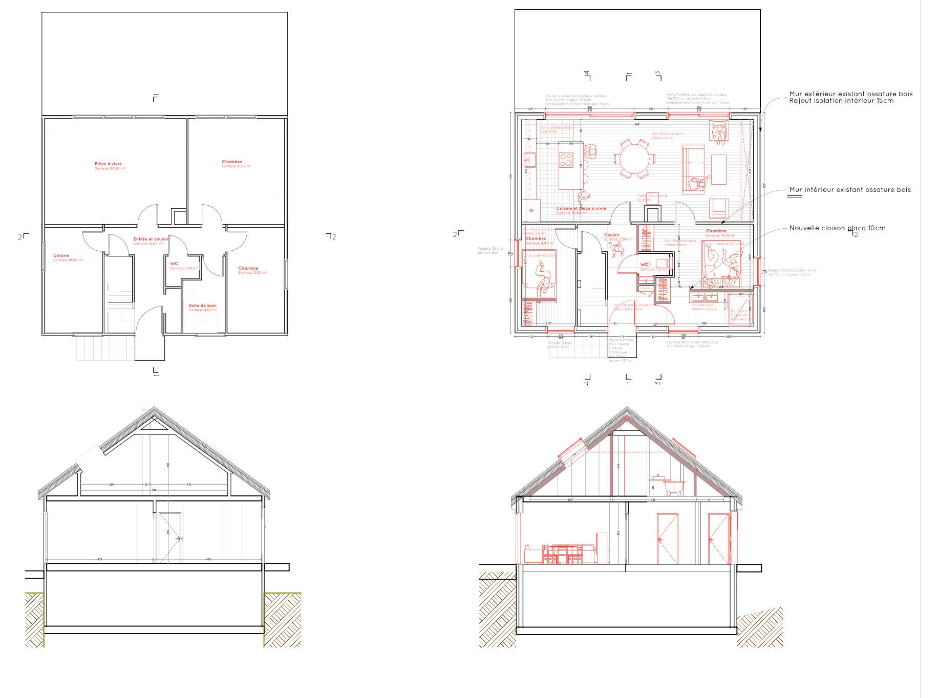 Maison T  Plan existant et plan projeté