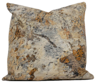 Acid Wash Silver On Gray Large 20 x 20 Square Brazilian Cowhide Pillow