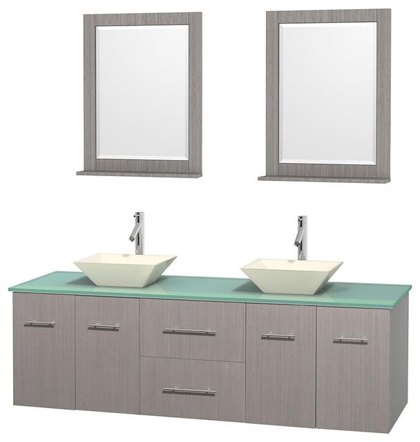Glass Vanities And Sinks : Oak DBL Vanity, Green Glass Top, - Modern - Bathroom Vanities And Sink ...