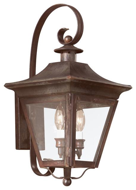 Troy Oxford 2-Light Wall Lantern, Natural Rust, Medium.