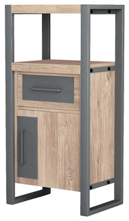 Asta Teak and Iron Side Cabinet, Industrial Modern, Tall