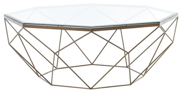 Symmetrical Coffee Table, Antique Brass.
