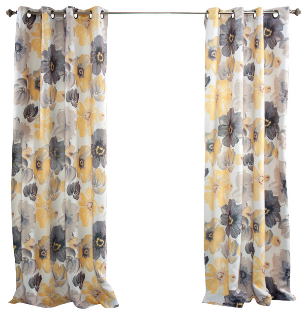 Leah Window Curtain Set, Yellow And Gray.