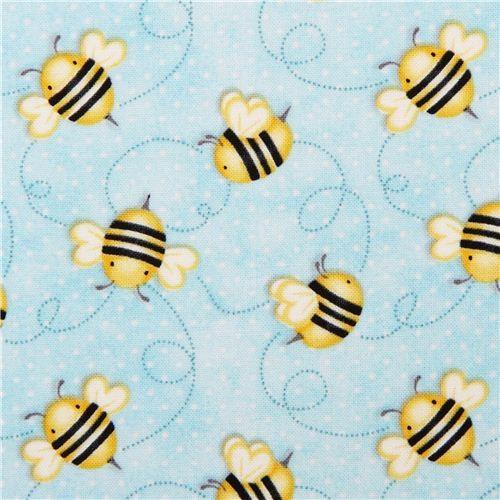 light blue bee fabric from the USA Honey Bee Mine